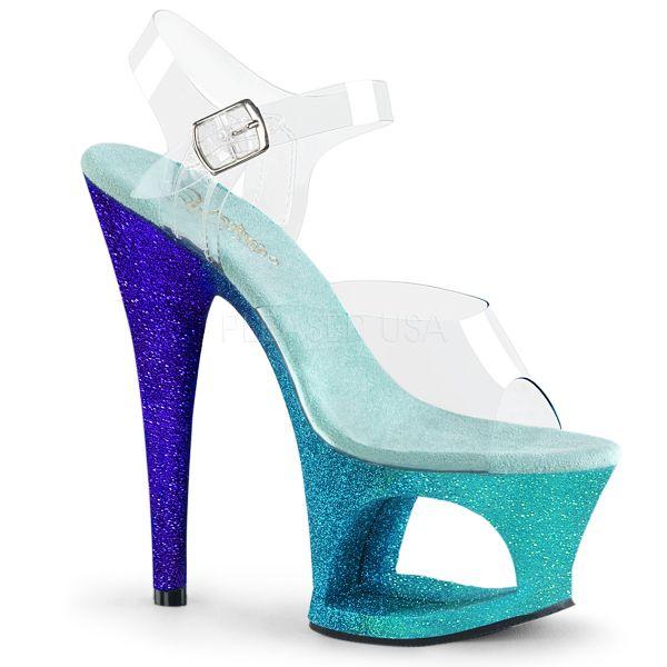 """Durchsichtige Sandalette mit auffallendem aqua blue """"Ombre Effect"""" Cut Out Plateau MOON-708OMBRE"""